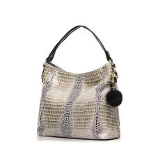 Realer 2016 Women Genuine Leather Crocodile Bags Shoulder Bag With Fur Ball Embossed Handbag Messenger Bags For Ladies