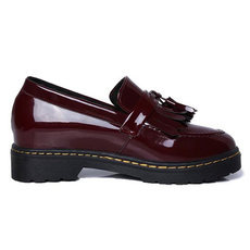 New Patent Leather Oxfords Shoes 2016 Spring Vintage Tassel Platform Brogue Shoes Woman British Style Slip On Flats DWD2594