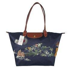 Bag Women Handbag 2016 Casual Fashion Genuine Leather with Nylon Long Handle Folding Embroidery Shopping Hobos Shoulder Bags