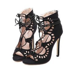 Women Shoes Brand New High Heels Cut Outs Lace Up Open Toe Runway Party Shoes Women Sandals Gladiator Pumps Zapatos 534