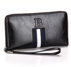 Mens′ England Style Split Leather Wallet Male Large Zipper Clutch Purse Casual Wallet with Strap for Men