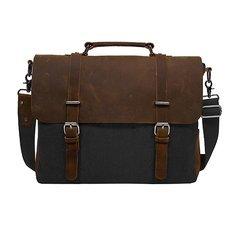 Men′s Shoulder Bags Canvas Leather Briefcase Vintage Satchel School Military Shoulder Messenger Bags Fits 15′′ Laptop Bag